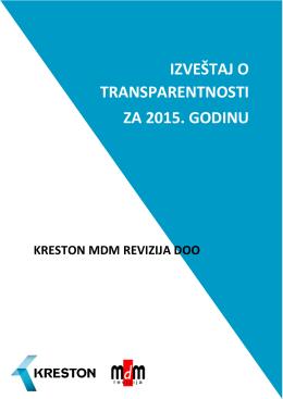 izveštaj o transparentnosti za 2015. godinu