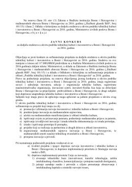 Na osnovu člana 10. stav (1) Zakona o Budžetu institucija Bosne i