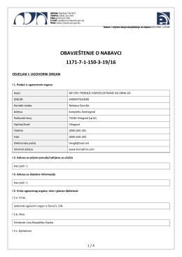 obavještenje o nabavci 1171-7-1-150-3-19/16