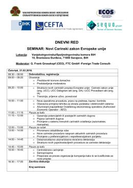 dnevni red - Vanjskotrgovinska / Spoljnotrgovinska komora BiH