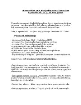 Infor o radu Savez 2015.g. - Streljacki Savez Crne Gore