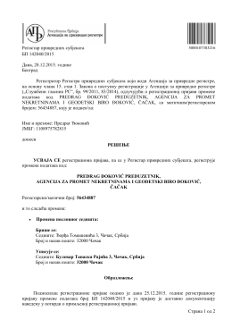 APR podaci - AGB Đoković