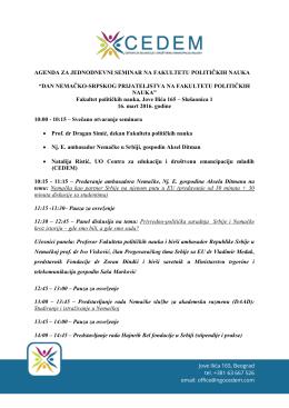 """agenda za jednodnevni seminar na fakultetu političkih nauka """"dan"""