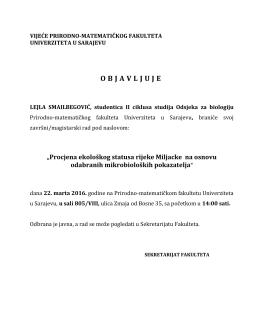 Odbrana II ciklus biologija Lejla Smailbegović