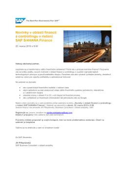 Novinky v oblasti financií a controllingu v riešení SAP S
