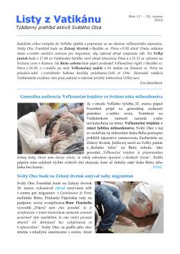 Listy z Vatikánu - Radio Vaticana