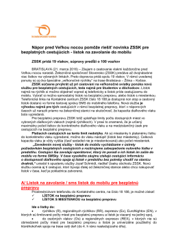Podrobnosti o posilových vlakoch a informácie o sms