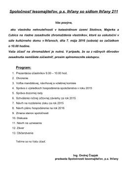 Pozvánka na valné zhromaždenie vlastníkov v roku 2016