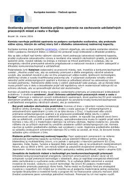 Oceliarsky priemysel: Komisia prijíma opatrenia na