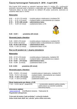 Časový harmonogram Testovania 9