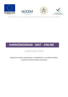 E-Maturita 2016 – Harmonogram MAT – online