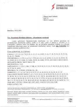 Oznam o prerušení dodávky el. energie 31.3.2016