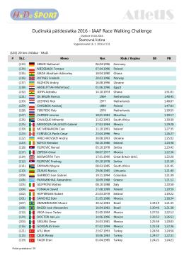 Dudinská päťdesiatka 2016 - IAAF Race Walking