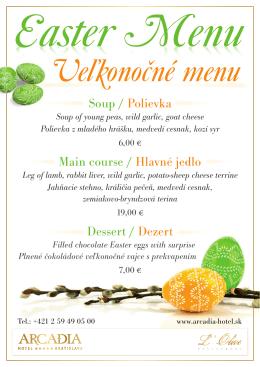Soup / Polievka Main course / Hlavné jedlo