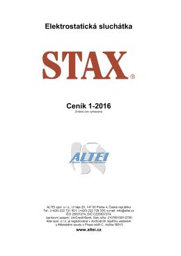 Elektrostatická sluchátka Ceník 1-2016