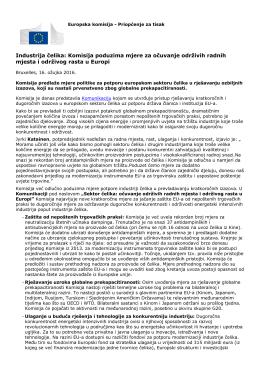 Industrija čelika: Komisija poduzima mjere za očuvanje