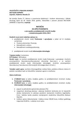 natječaj za upis studenata - Veleučilište Baltazar Zaprešić