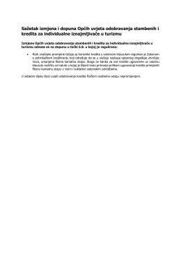 Sažetak izmjena i dopuna Općih uvjeta odobravanja