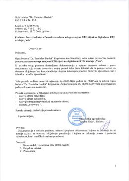 Poziv na dostavu ponude - Opća bolnica Dr. Tomislav Bardek