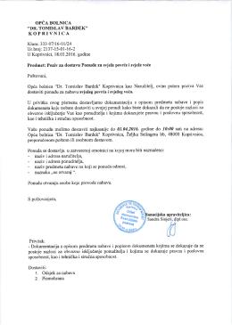 Poziv na dostavu ponuda - Opća bolnica Dr. Tomislav Bardek