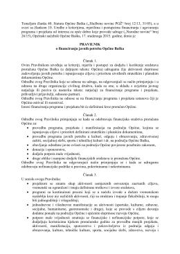 Pravilnik o financiranju javnih potreba