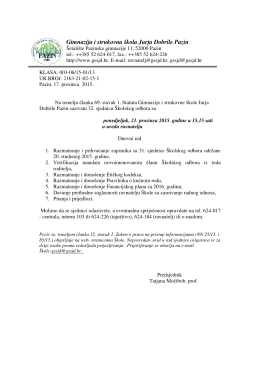Poziv na 32. sjednicu Školskog odbora