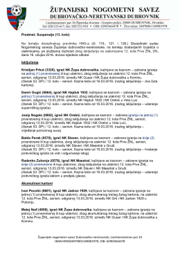 Suspenzije (1. ŽNL – 13. kolo) - Županijski nogometni savez