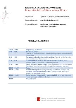 program radionice - Građevinski fakultet Sveučilišta u Mostaru