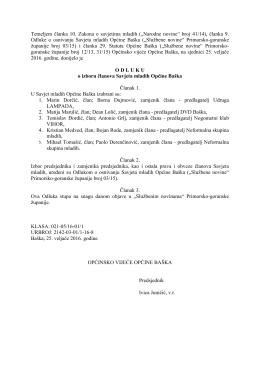 Odluka o izboru članova Savjeta mladih Općine Baška