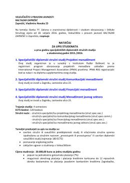 studij poslovanja i upravljanja - Veleučilište Baltazar Zaprešić
