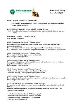 Program sajama 2016 - Mediteranski sajam Dubrovnik