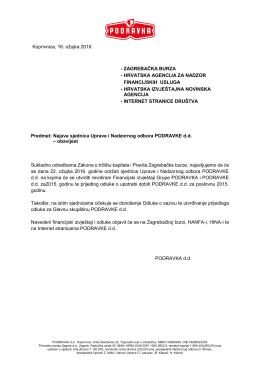 Najava sjednica Uprave i Nadzornog odbora PODRAVKE d.d.