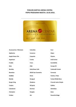Poklon kartica Arena Centra.