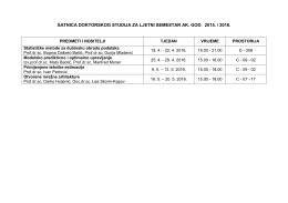 satnica doktorskog studija za ljetni semestar ak. god. 2015 - FER-a