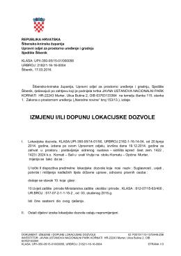 Izmjena i dopuna lokacijske dozvole - Šibensko
