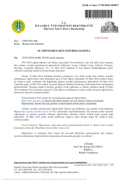 İlgili yazı için TIKLAYINIZ - İstanbul Üniversitesi | Su Ürünleri Fakültesi