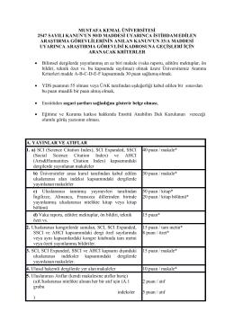 mustafa kemal üniversitesi 2547 sayılı kanun`un 50/d maddesi