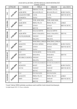 15-21 Mart Yemek Listesi - Anafartalar Özel Eğitim Meslek Lisesi