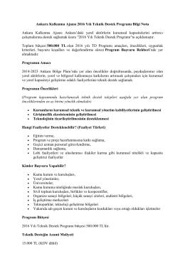 Ankara Kalkınma Ajansı 2016 Yılı Teknik Destek Programı Bilgi Notu