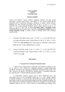 IV. ÚS 3073/15 Česká republika NÁLEZ Ústavního