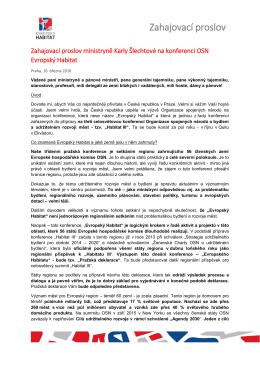 Proslov ministryně Karly Šlechtové
