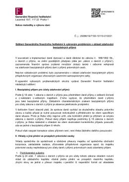 Sdělení Generálního finančního ředitelství k
