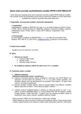 Úplné znění pravidel spotřebitelské soutěže PEPSI COOP MIKULOV