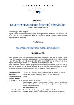 ařg POZVÁNKA KONFERENCE ASOCIACE ŘEDITELŮ GYMNÁZIÍ ČR