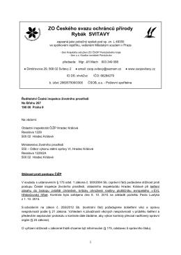 Stížnost ZO ČSOP Rybák proti postupu ČIŽP
