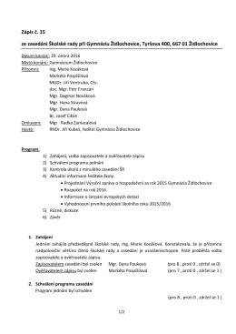 Zápis ze zasedání školské rady dne 23. 2. 2016