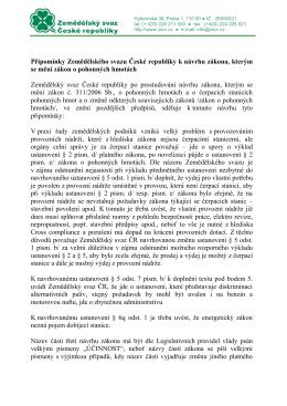 Připomínky Zemědělského svazu České republiky k návrhu zákona