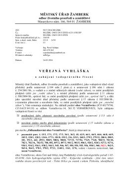 Veřejná vyhláška - Městský úřad Žamberk, odbor ŽP a zemědělství