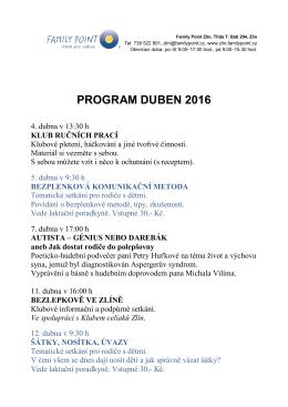 program duben 2016 - Turistický informační portál města Zlína