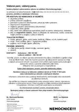 ORL Informace pro pacienty - Městská nemocnice Ostrava